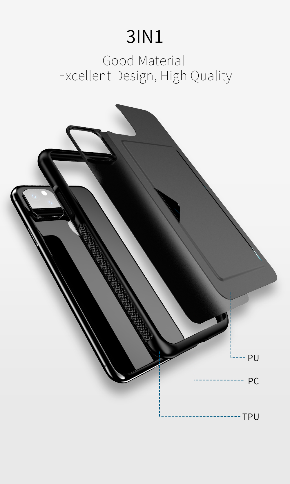 Chirm Card Pocket Case for iPhone 11/11 Pro/11 Pro Max 6
