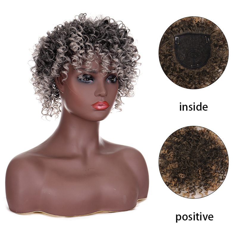 Xuanguang afro kinky encaracolado perucas sintético resistente