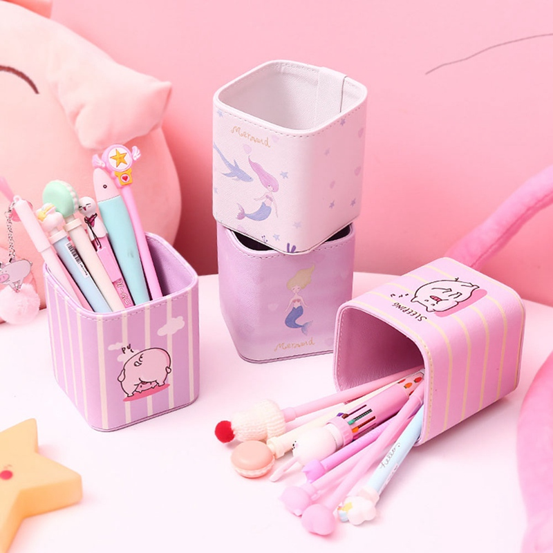 1 Pc Kawaii Pink Flower Pig Mermaid Stationery Storage Box Manage Case Pencil Pen Holder Stand Student Stationery