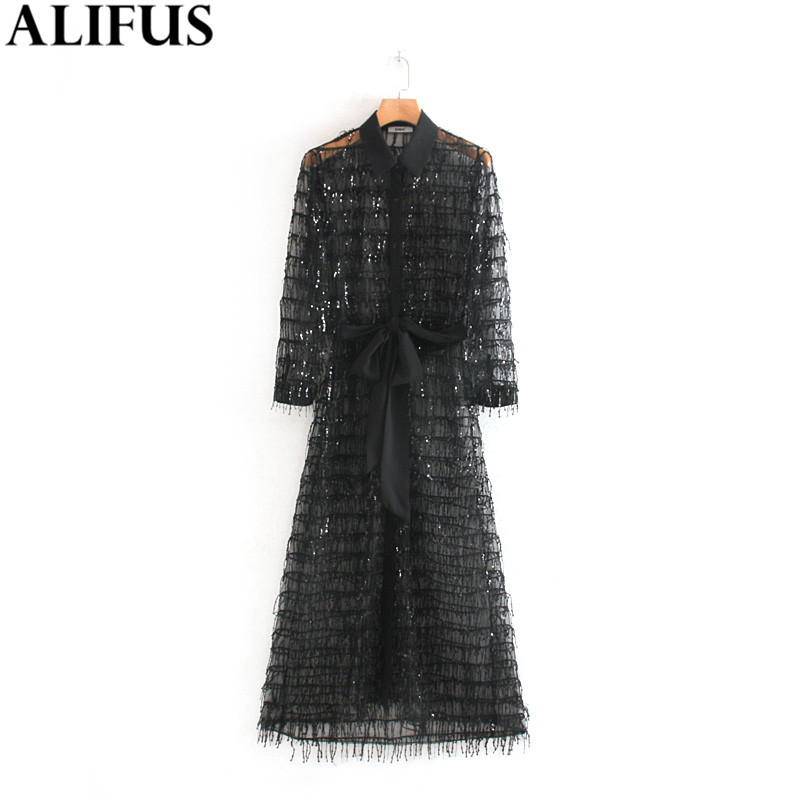 Mode Za femmes robe 2019 Sequin glands ceintures Chic Transparent à manches longues décontracté a-ligne robes femme dames Vestidos