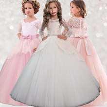 Elegant Lace Wedding Girl Party Dress Kids Dresses for Girls Teenager Birthday Bridesmaid 12 14 Years Children Clothes WGD0033(China)