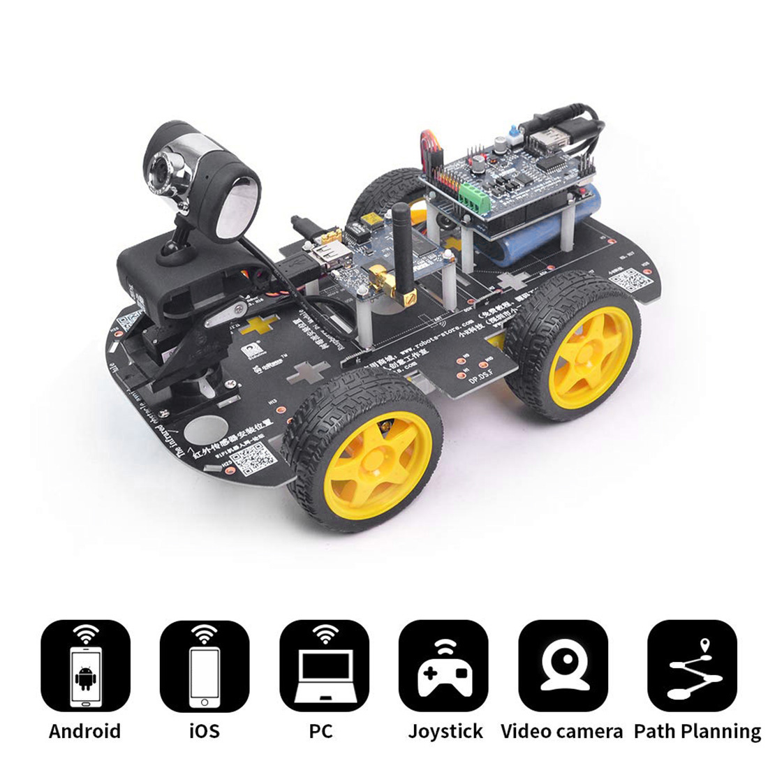 DIY Programmable Robot Car Wifi Steam Educational Car For Raspberry Pi 4 (2G) Brain-Training Toy Gift - Standard Edition US Plug