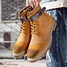 Зимняя мужская парусиновая обувь; повседневная обувь с высоким берцем в стиле милитари; тактические ботинки для мужчин; уличная мода; замшевые кожаные мужские рабочие ботинки