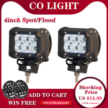 CO LIGHT 1 Pair Led Drl 18W 4 Spot Flood Led Working Lights 12V 24V for Offroad Lada Niva Uaz Tractor Tractor Trucks