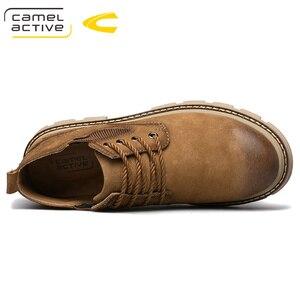 Image 4 - Camel Active nowe męskie buty ze skóry naturalnej ręcznie mężczyzna na zewnątrz buty w stylu casual grube podeszwy szwy antypoślizgowe męskie obuwie