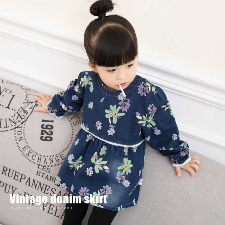 Baby Overclothes Girls Anti-Printed Infants Pure Cotton Waterproof Pinny Dress Cowboy Protective Clothing Eating Cover Spring Au