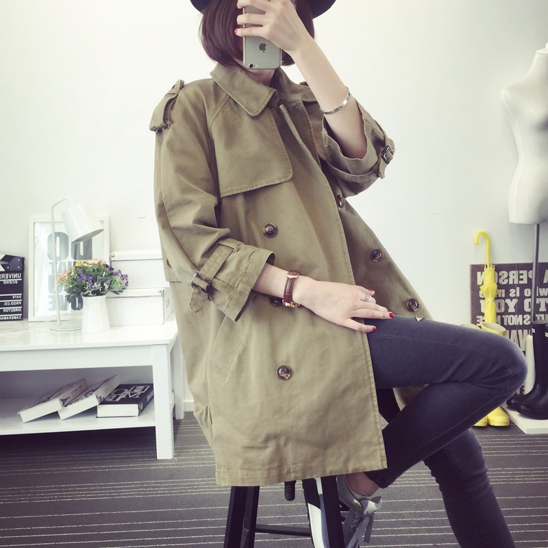 2018 Sale Burderry Xs,s, Spring Autumn New Women's Leisure Loose Double Breasted Coat Three Quarters Sleeve Solid Female Trench