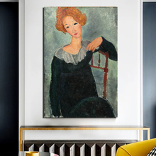 Amedeo Modigliani Classic Woman With Red Hair Canvas Painting Print Living Room Home Decor Modern Wall Art Oil Painting Posters classic amedeo modigliani picasso artwork collection sketch canvas print painting poster wall pictures living room home decor