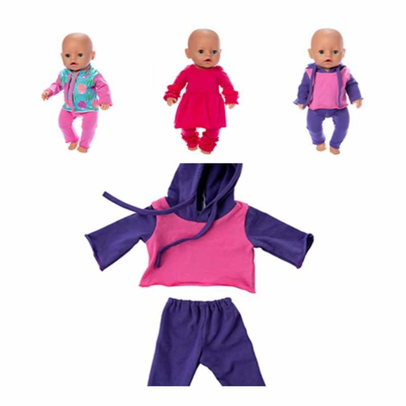 תינוק חדש נולד בגדי בובת אביזרי Fit 17 אינץ 43cm פלמינגו קקטוס יען פיג 'מה שתי חתיכה חליפת עבור תינוק יום הולדת מתנה