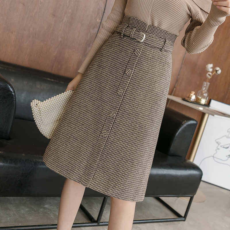 Korean Winter Midi Long Plaid Women Skirt With Belt High Waist Single Breasted Back Zip Skirt A-line Woolen Skirts Faldas Mujer