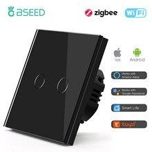 BSEED Zigbee Touch Switches 1/2/3Gang 1/2/3Way Wireless Control Smart Light Switch Wifi Wall Switch Tuya Smart Home Google Alexa