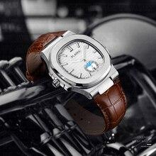цена на PLADEN Leather Bell Wrist Watch Men Chronograph Watch Male Designer Watches Men Fashion Water Resistant Mens Quartz Wristwatch