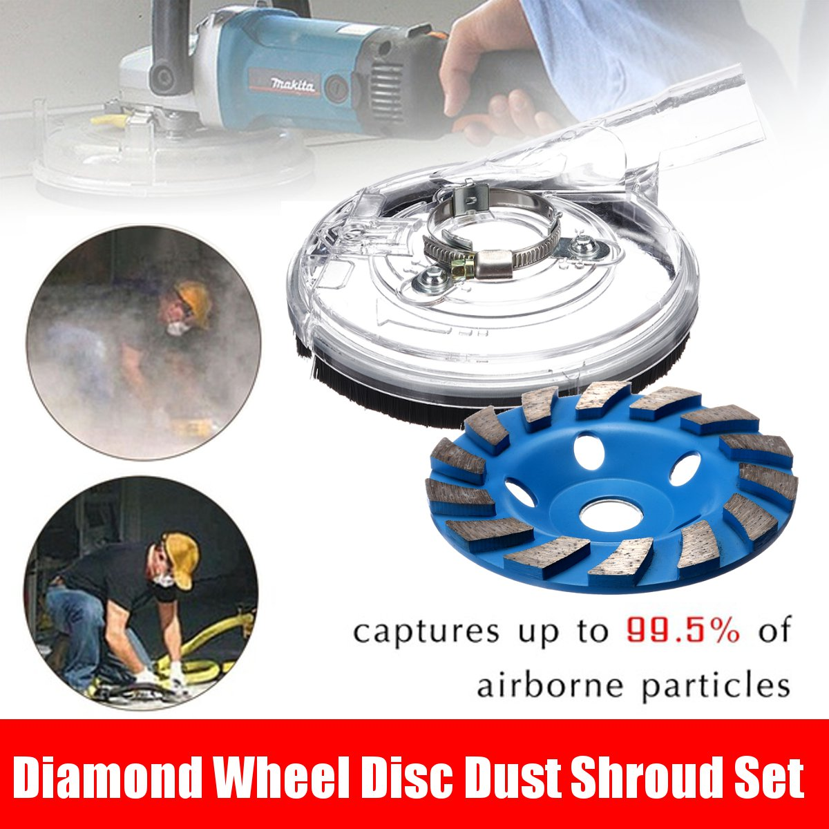 B-125A5 Dust Shroud Kit Dry Grinding Dust Cover For 125 Angle Grinder 80-125mm Hand Grinder Clear Vacuum Dust