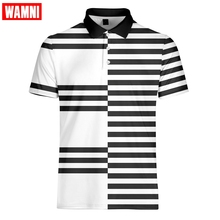 WAMNI Tennis New 3D Polo Shirt Sport Casual Black polo Business Bodybuilding Quick Drying stripe homme Harajuku