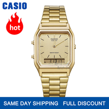 Casio watch ゴールドウォッチメンズトップブランドの高級デュアルディスプレイ防水クォーツデジタルメンズウォッチスポーツミリタリー腕時計 часы мужские relogio masculino reloj hombre erkek kol saati montre homme zegarek meski AQ 230