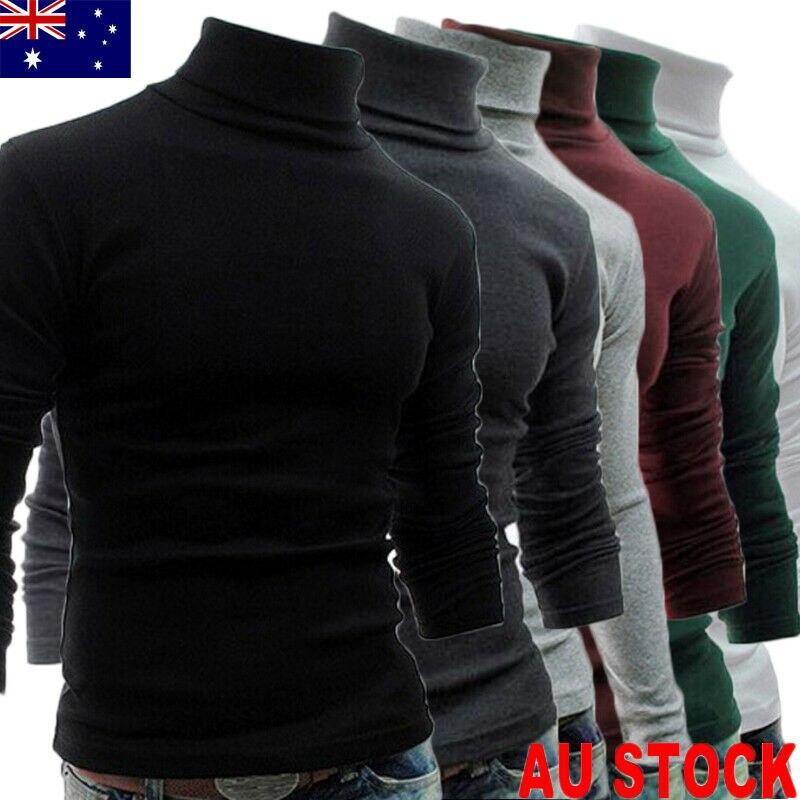 Autumn Winter 2019 New Men Slim Warm Cotton High Neck Pullover Jumper Sweater Top Turtleneck Sweaters