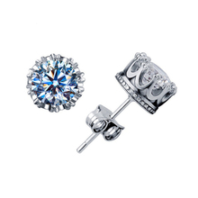 Simple Round Big Crystals Stud S925 Sterling Earrings Female Bridal Wedding Gifts Jewelry Women