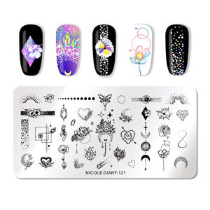 Image 4 - NICOLE DIARY Christmas Series Nail Stamping Plate Stamp Templates Rose Leaf Snake Image Printing Stencil Nail Art Tools