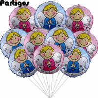 Globos para baby shower de 18 pulgadas, globo de helio de aluminio, estrella, corazón, decoración para fiesta de recién nacido, Ángel, 1 año de nacimiento, 10 Uds.