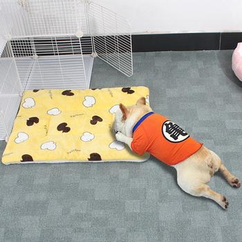 2Pcs Duck Print Soft Pet Dog Cat Sleeping Bed Cushion Soft Carpet Kennel Warm Keeping Cleaning Mat image