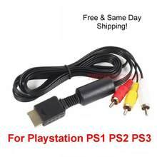 OEM 6FT RCA AV TV Audio vidéo câble stéréo cordon pour Playstation PS1 PS2 PS3 A/V câble vidéo en cuivre gratuit TXTB1