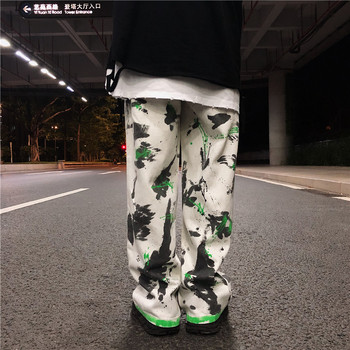 Male Vintage Wide Leg Jeans Pants Splash Ink Graffiti Jeans for Men High Street Hip Hop Casual Loose Straight Denim Trousers