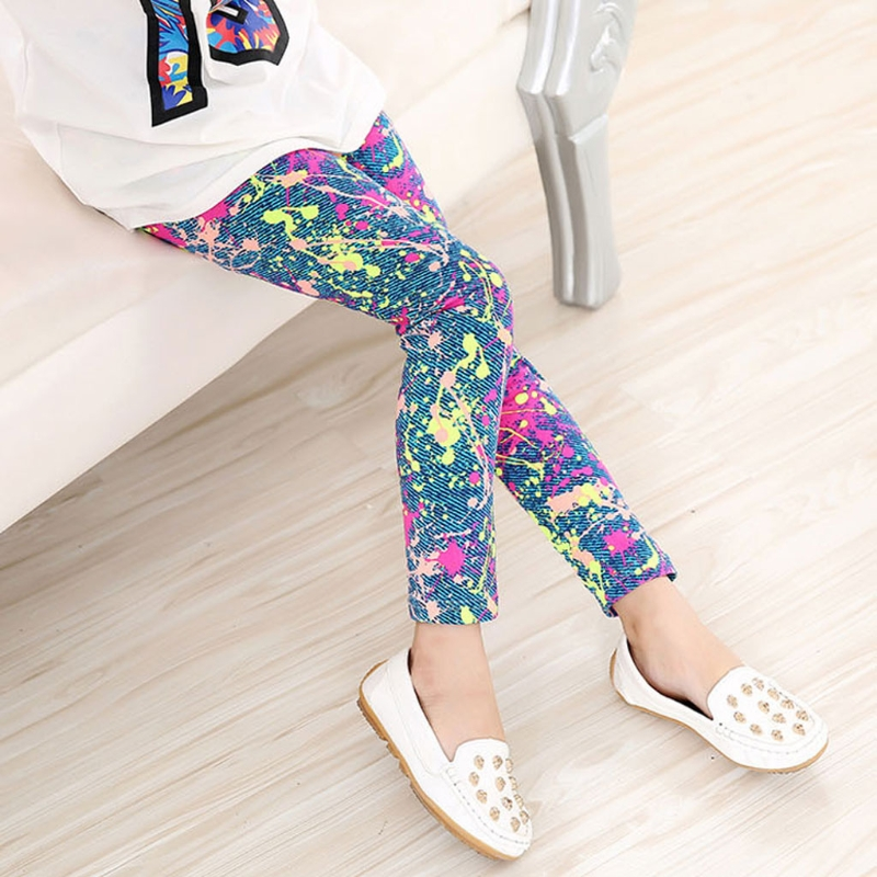 Baby Kids Childrens Printing Flower Pants Girls Legging 2-14Y Simple Leggings DXAD