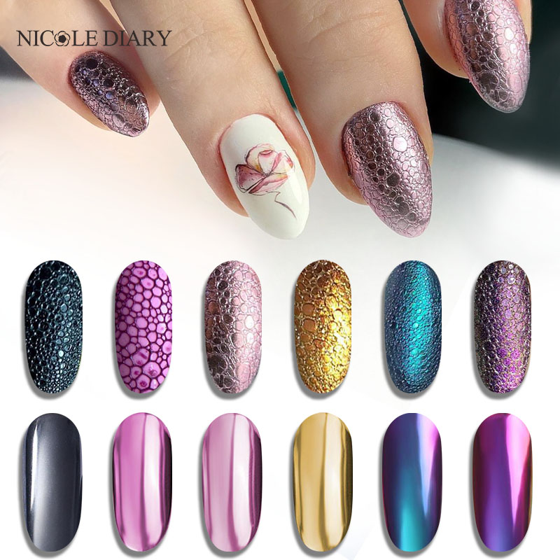 NICOLE DIARY  Glitter Powder Nails Laser Bubble Nails Mirror Polishing DIP Shimmer Gel Polish Glitter Nail Art