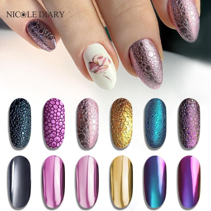 NICOLE DIARY  Glitter Powder Nails Laser Bubble Nails Mirror Polishing DIP Shimmer Gel Polish Glitter Nail Art
