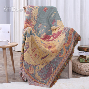 American style map weaving 100% cotton decorative sofa towel cover blanket for bed throw funda sillon free shipping SP4910