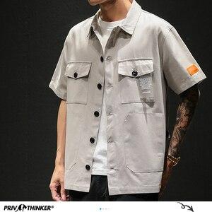Image 2 - Privathinker男性サファリスタイルシャツストリート2020メンズ日本シャツカジュアル韓国男性ビッグポケットシャツ夏特大