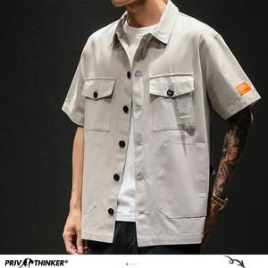 Image 2 - Privathinker Men Safari Style Shirt Streetwear 2020 Mens Japanese Shirts Casual Korean Male Big Pockets Shirts Summer Oversize