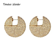 Timeless Wonder Stunning Crystal Encrusted Round Stud Earrings Fancy Jewelry Christmas Gifts for Women Gold CC Trendy 1546