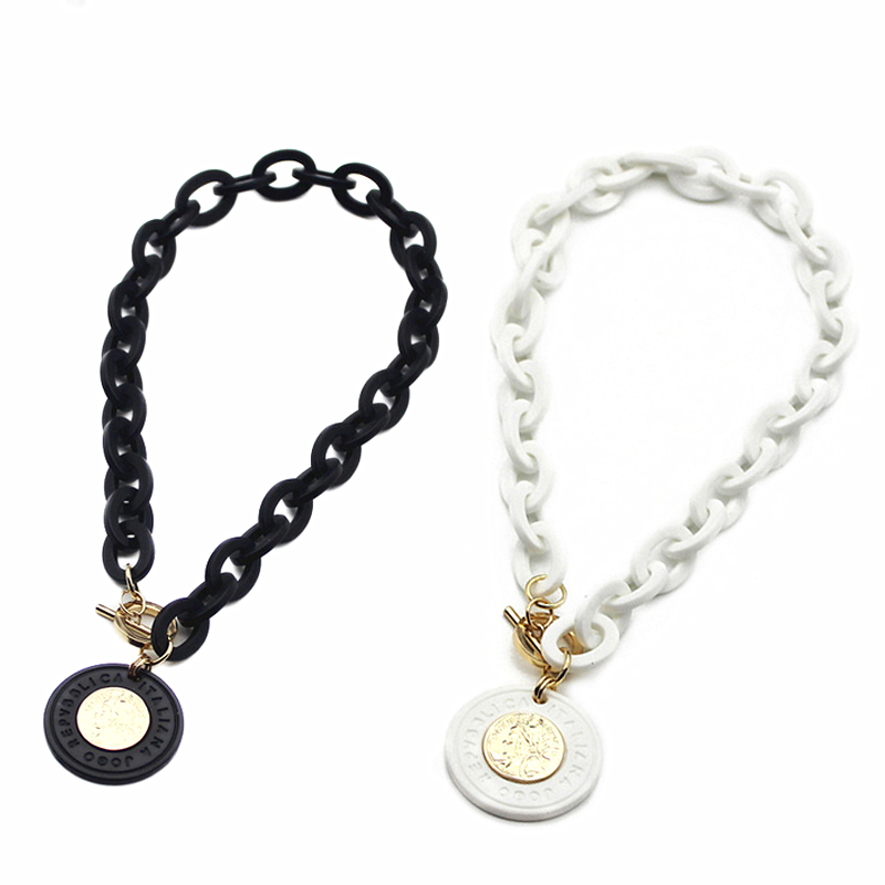 Statement Necklace Acrylic Coin Pendant geometric Necklaces Pendants for Women Collier Choker Jewelry Chokers Kolye Collares