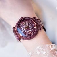 New Luxury Rhinestone Bracelet Watch Women Diamond Fashion Ladies PURPLE Dress Watch Stainless Steel Crystal Wristwatch Clock