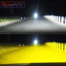 BraveWay 3000K + 6500K H1 H3 H8 H9 H11 LED 헤드 라이트 키트 자동차 H7 LED Canbus HB3 9006 HB4 LED 전구 12V 24V 12000LM 안개 조명