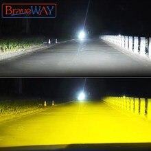 Braveway 3000k + 6500k h1 h3 h8 h9 h11 led kit farol para carro h7 led canbus hb3 9006 hb4 lâmpadas led 12v 24v 12000lm luzes de nevoeiro