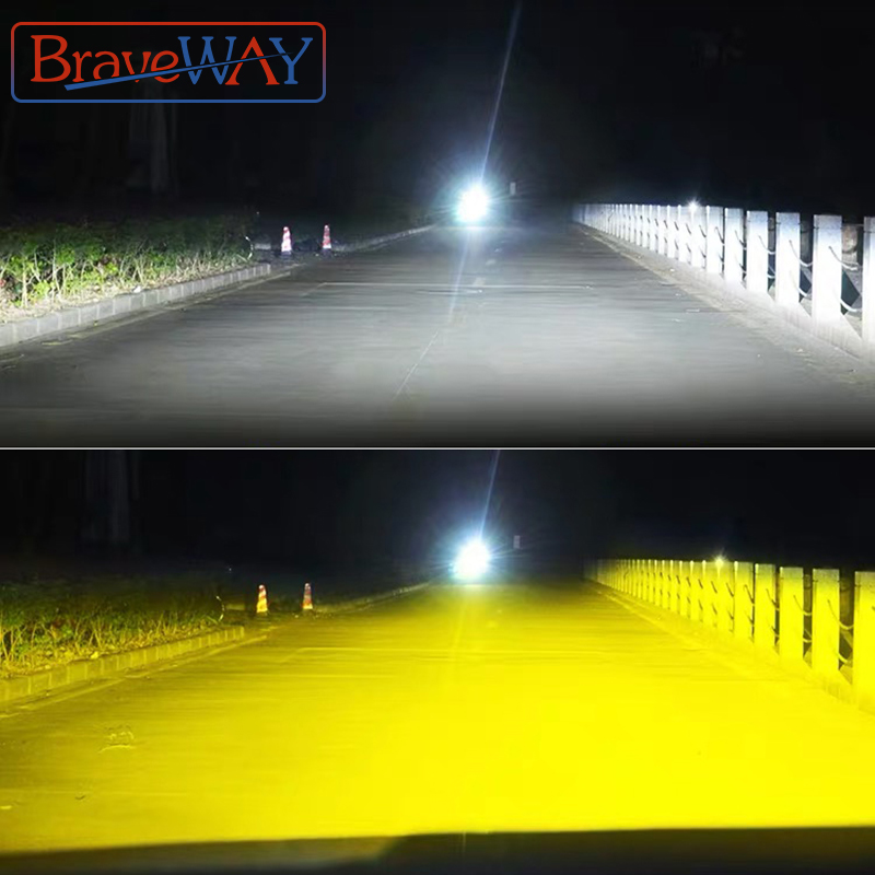 BraveWay 3000K+6500K H1 <font><b>H3</b></font> H8 H9 H11 <font><b>LED</b></font> Headlight Kit for Car H7 <font><b>LED</b></font> Canbus HB3 9006 HB4 <font><b>LED</b></font> <font><b>Bulbs</b></font> 12V 24V 12000LM Fog Lights image