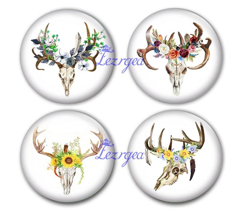 Ręcznie robiona okrągła czaszka głowa jelenia i kwiat szklane kaboszony ze zdjęciami poroża biżuteria znalezienie ustawienia wisiorek Cameo