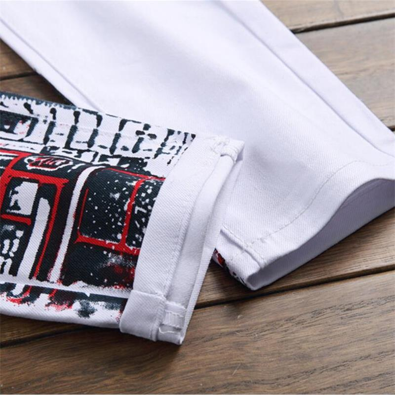 New Style Men Jeans 100 Cotton letter printed Color printing design High Quality Fashion Men Jeans Free shipping 5601 in Jeans from Men 39 s Clothing