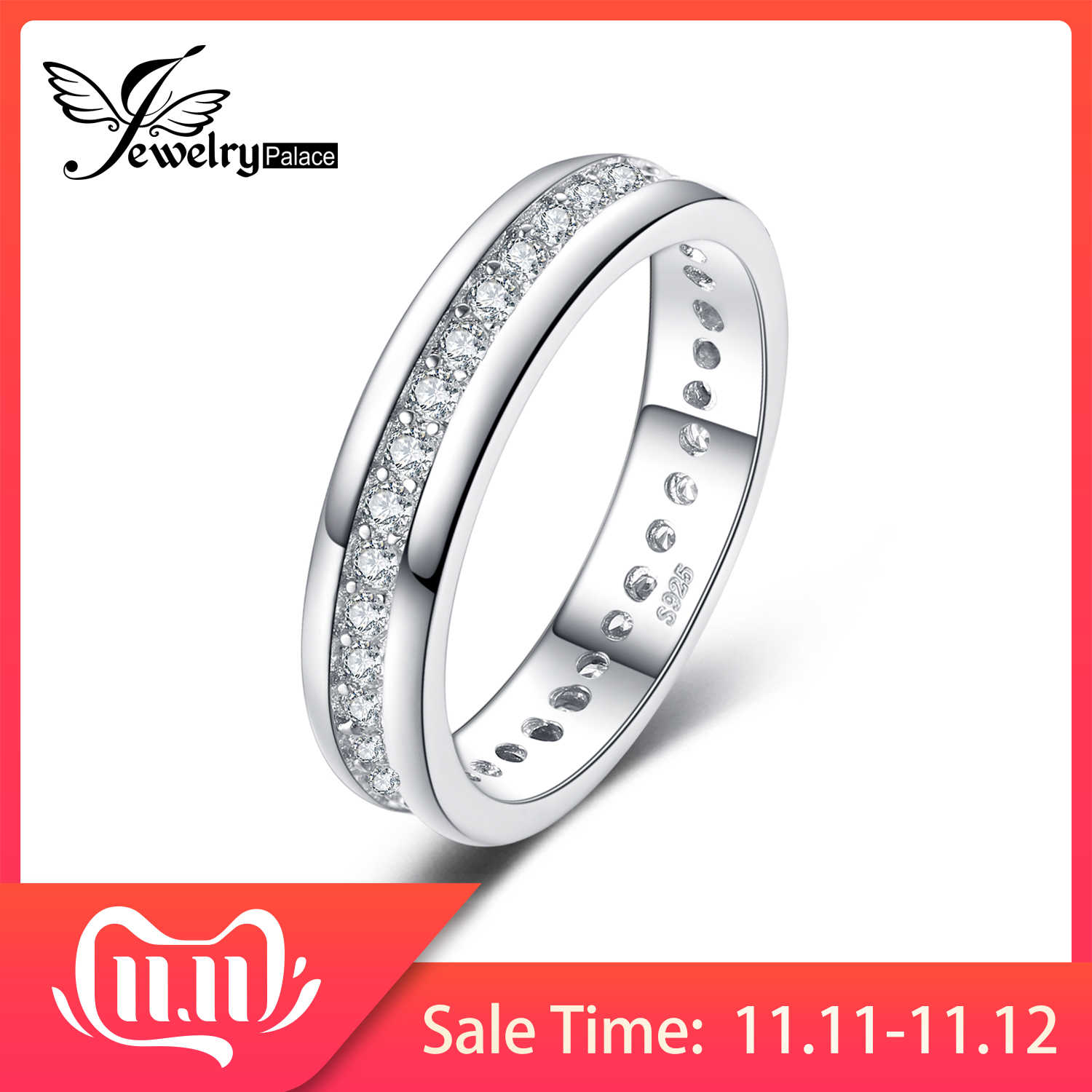 JewelryPalace CZ Wedding Rings 925 Sterling Silver Rings for Women Stackable Anniversary Ring Eternity Band Silver 925 Jewelry
