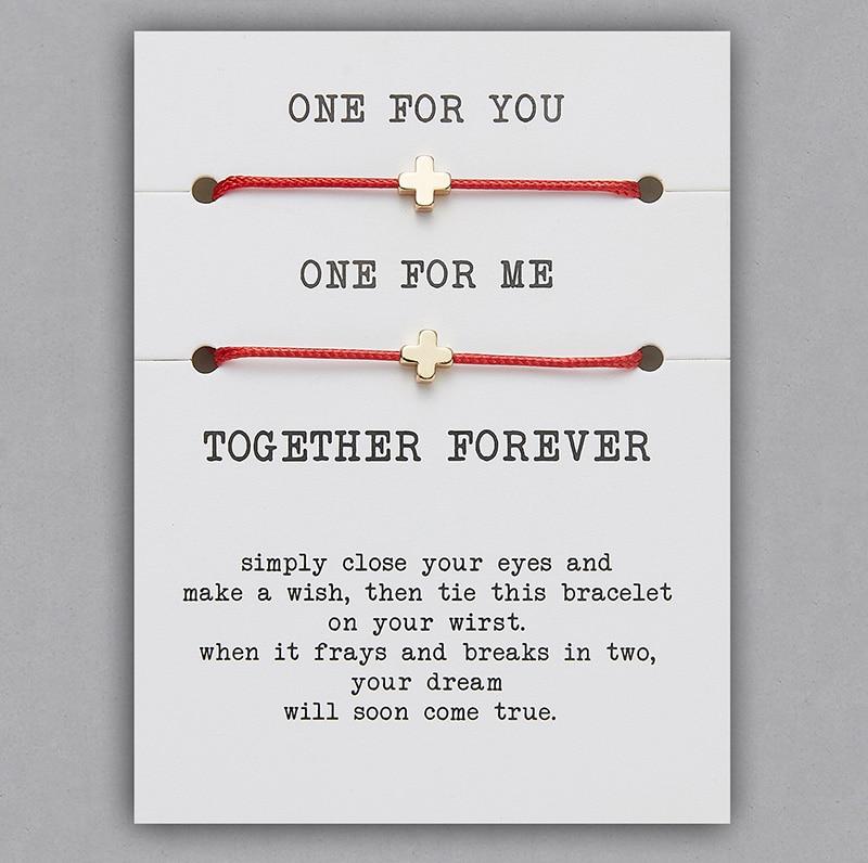 2 шт./компл. Сердце Звезда браслеты с крестообразной подвеской один для вас один для меня красная веревка плетение пара браслет для мужчин женщин карточка пожеланий - Окраска металла: BR18Y0713-2