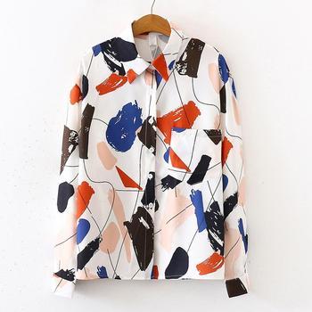 Geometric Print Chiffon Shirt Fashion Women Chiffon Tops Retro Printing Long Sleeve Lapel Chiffon Blouse Office Chiffon Shirt #2 фото