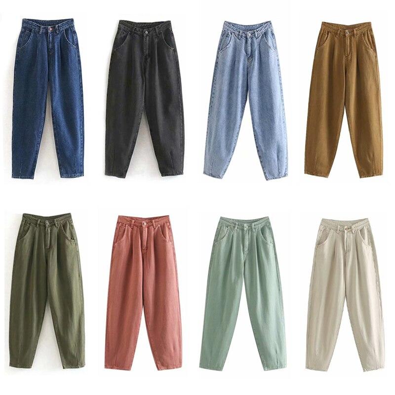 2020 Women Streetwear Pleated Mom Jeans Slouchy Jeans Pockets Boyfriend Pants Casual Ladies Denim Trousers High Waist Loose Mid