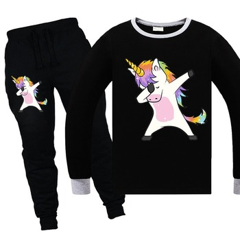 2019 latest Unicorn long-sleeved round neck cotton tops trousers suit European and American cartoon home sports and leisure suit