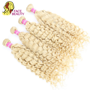 Image 4 - Facebeauty 613 цветные волосы уток блонд бразильские глубокая волна пучок 12   28 дюймов Remy человеческие волосы плетение Платина блонд 1/3/4 пучок