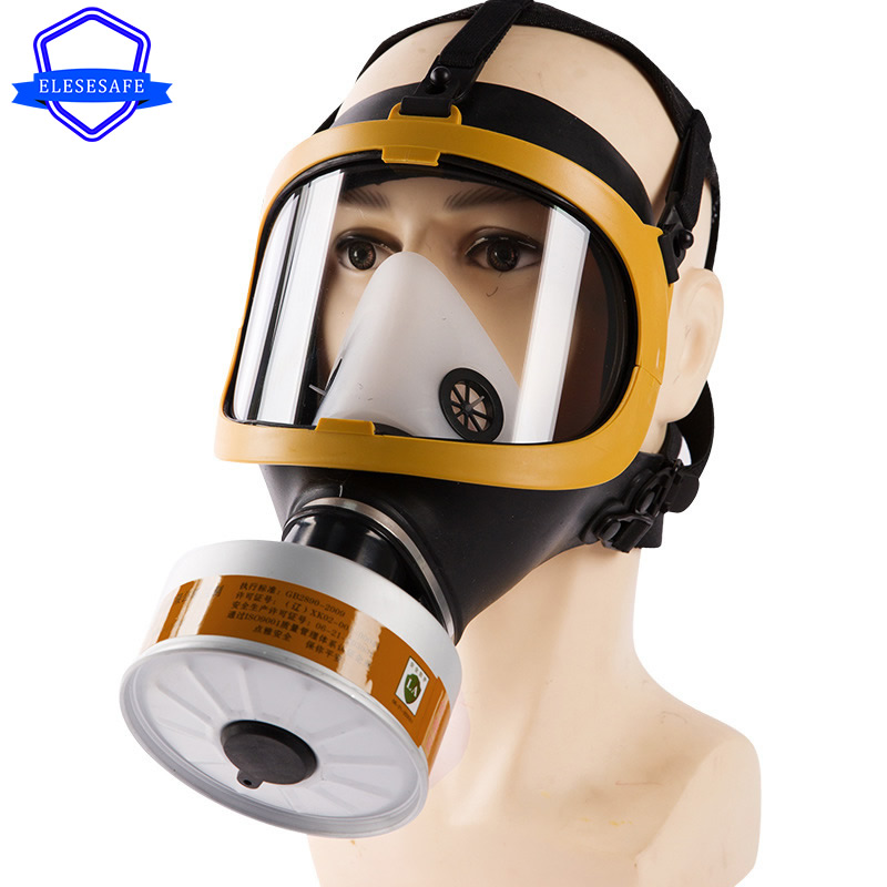 Full Face Gas Respirator Organic Toxic Gas Filtering Canister For Carpenter Polishing Painting Spraying Work Safety Protection