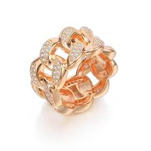 Hollow Cubic Zirconia Wide Rings For Women Elegant Finger Accessories Rose Gold Silver Punk Rings Party Trendy Jewelry Gifts luxury large pink opal finger rings rose gold color fashion brand cubic zirconia punk jewellery jewelry for women dfr086