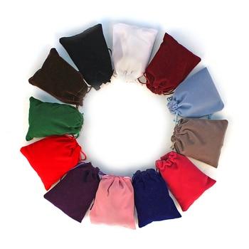 Bolsitas de terciopelo con cordón para embalaje de joyas 10 Uds., bolsas de regalo para maquillaje, embalaje de joyas, caja de dulces para bebé, bolsa de terciopelo colorida