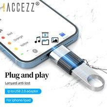 ! Adapter ACCEZZ OTG dla iPhone 12 11 Pro XS Max XR X 8 iOS 13 14 dla iPad Pro Mini Adapter USB wsparcie U konwerter klawiatury dysku